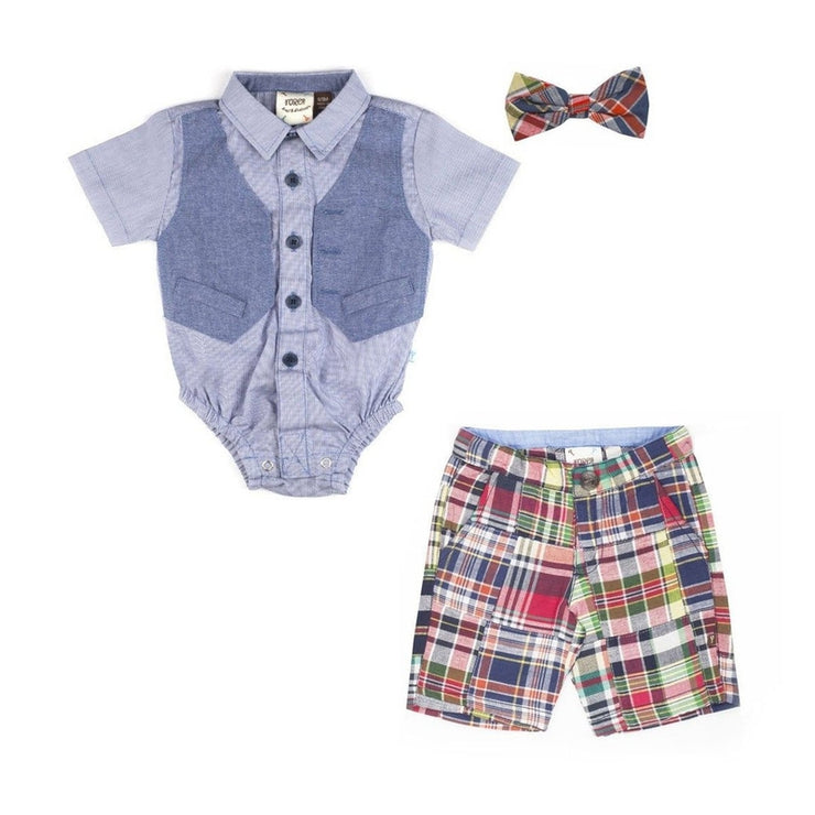 Faux Vest, Madras Shorts & Snap Bow Tie Set