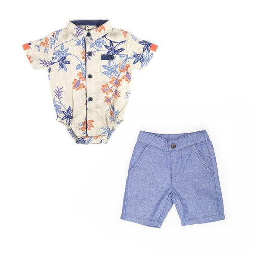 Tropical Print Onesie & Chambray Short Set