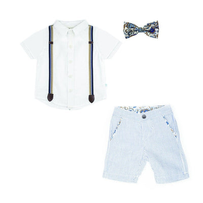 Shirt / Seersucker Shorts / Snap Bow Tie Set