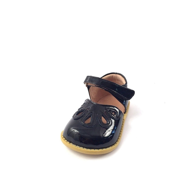 petal black patent leather
