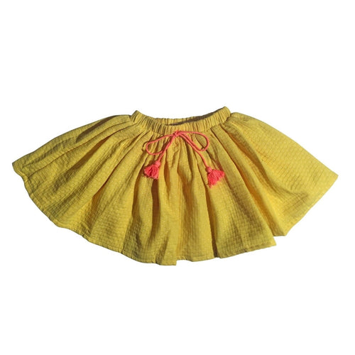 yellow blush dot tassel skirt