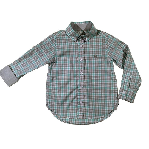 Aqua & Grey Checkered Collar Shirt