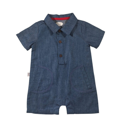 Denim Blue Collared Onesie