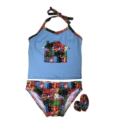 Two Piece City Block House Swimsuit