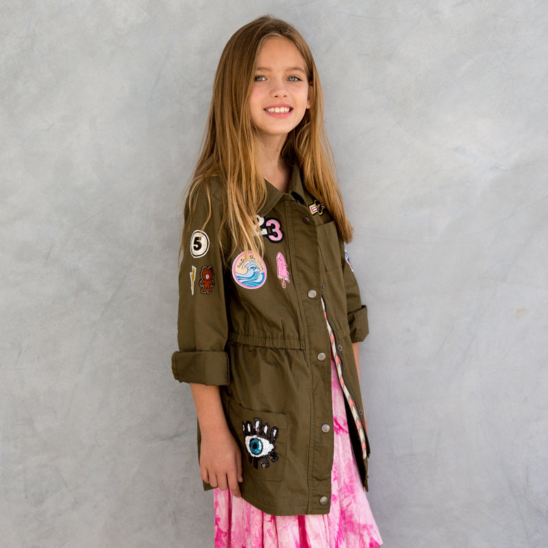 hippie at heart army jacket with patches