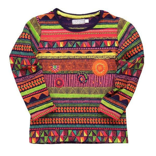 boho print long sleeve tee