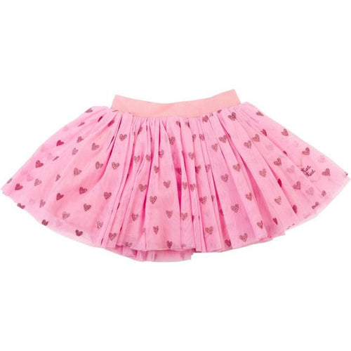 hot pink netted skirt with glitter hearts