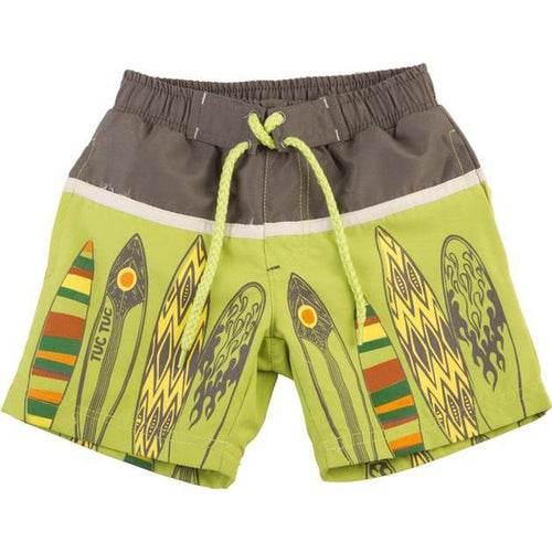 green surfboard swim trunks