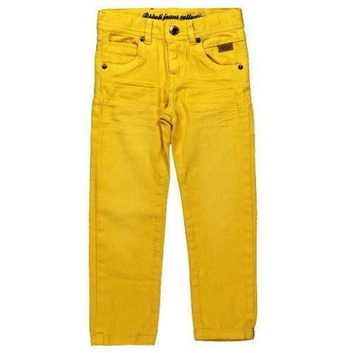yellow denim trousers