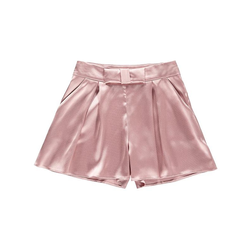 dusty rose wide legged bow short