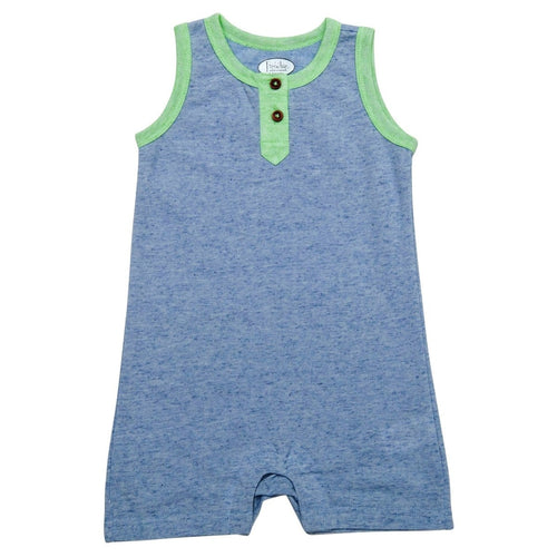 Blue Tank Romper with Back Pocket