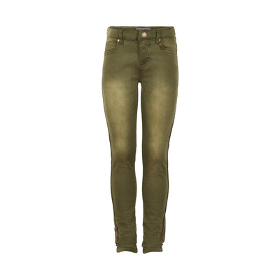 Olive Skinny Jean with Gold Brushed Seams
