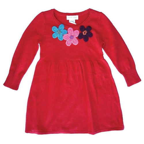 Red Flower Sweater Dress