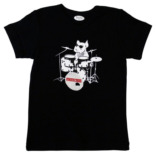 black bulldog drummer T-shirt