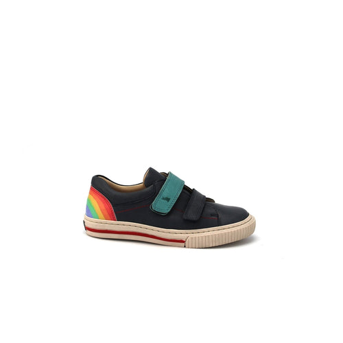 navy leather sneaker with rainbow