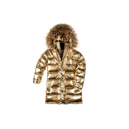 Antique Gold Long Down Coat
