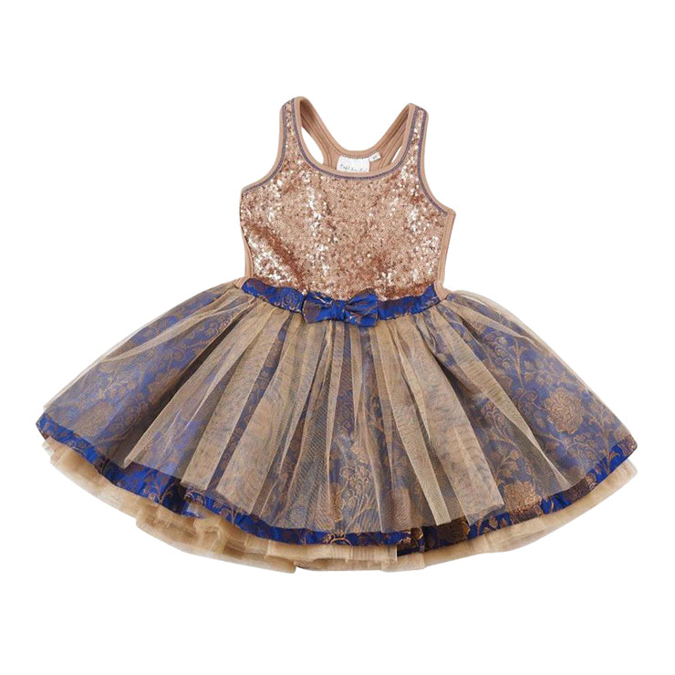 Blue and Gold Sequin Tie Bow Dress