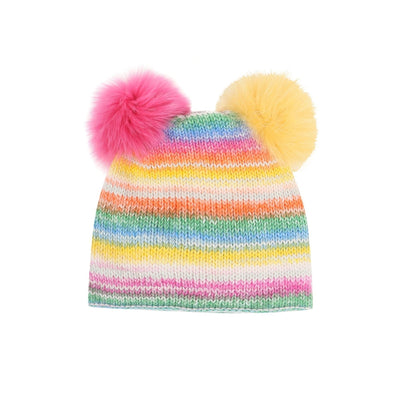 Multicolored  Wool Cap With Fox Pom Pom