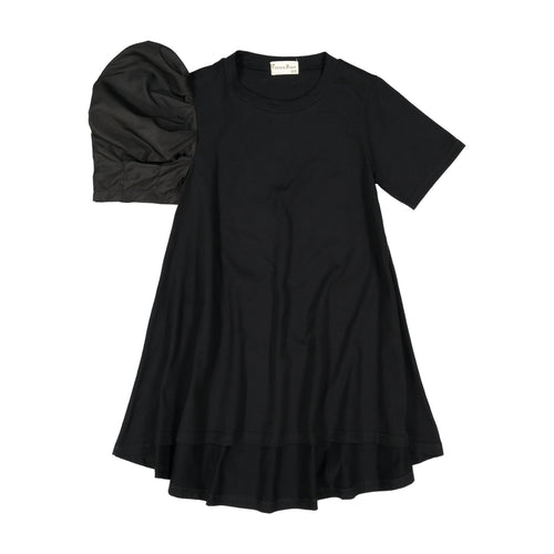 aerin one side woven puff sleeve black dress