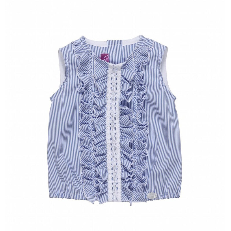 Striped Sleeveless Ruffled Lace Top
