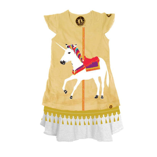 white unicorn carousel dress