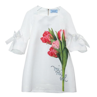 White Dress With Red Tulip