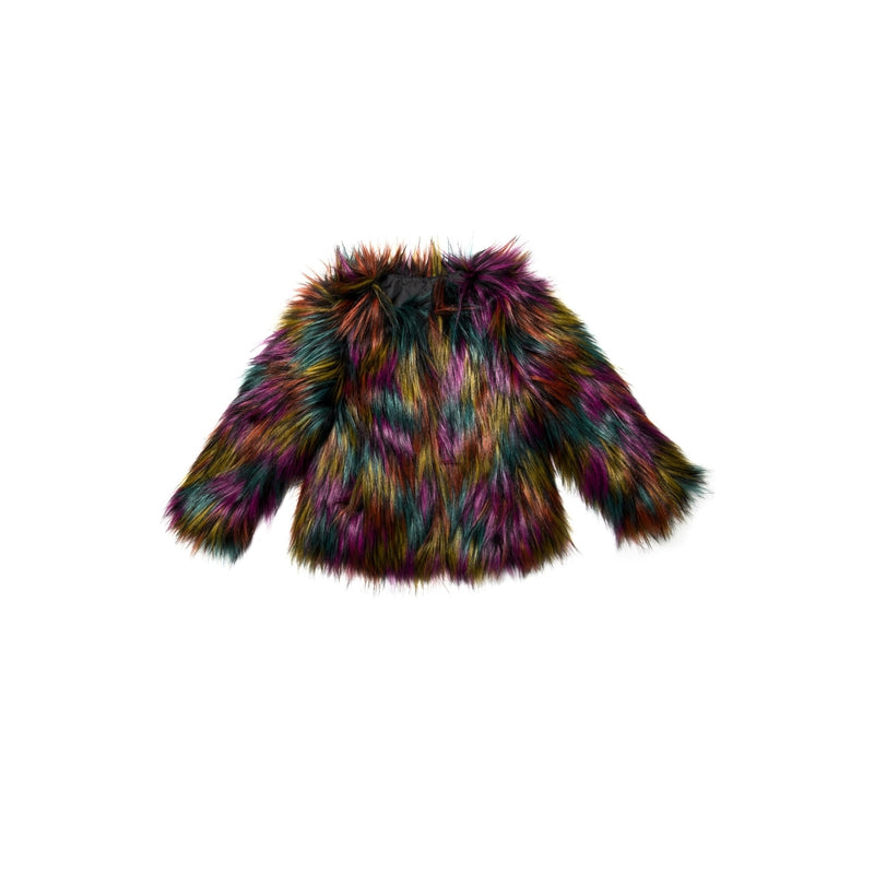 black rainbow faux fur coat