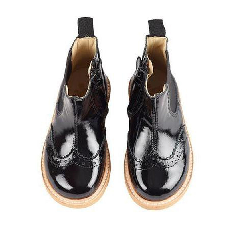 francis chelsea black patent leather boot