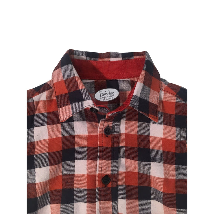 Burnt Orange & Navy Plaid Flannel Shirt