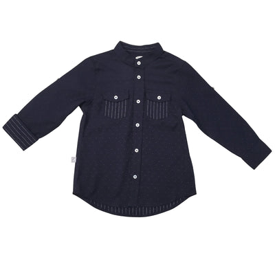 Navy & White Dot Mandarin Shirt