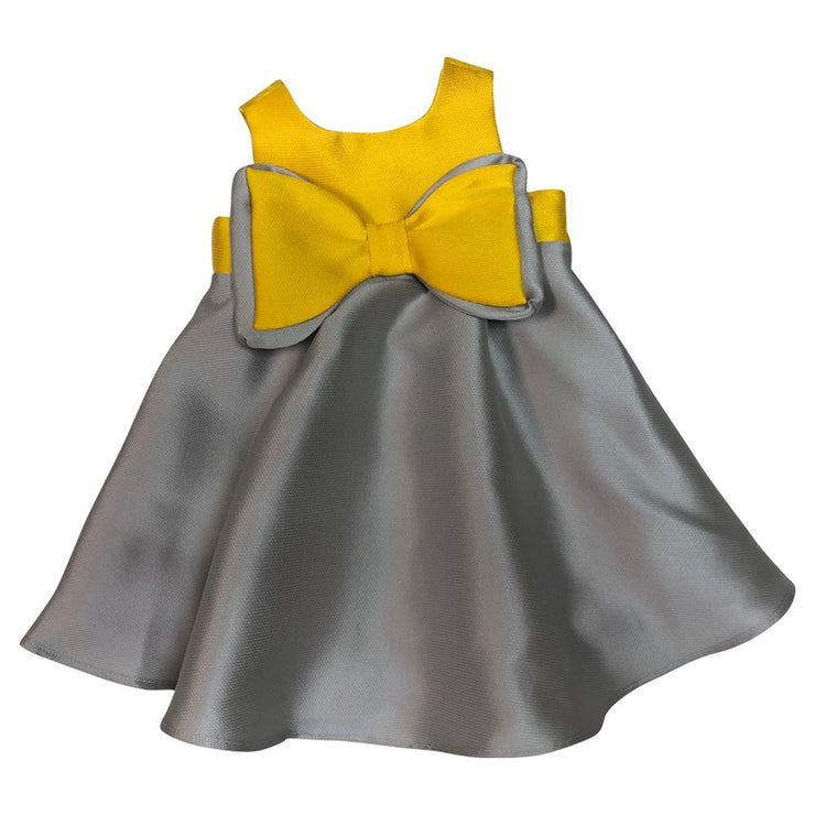 Grey Dress With Yellow Bow