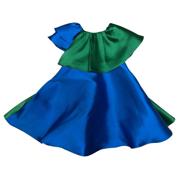 Blue Dress With Emerald Ruffle