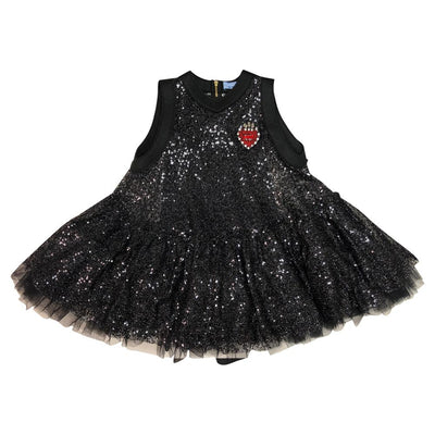 Black Fine Sequin Dress With Brooch