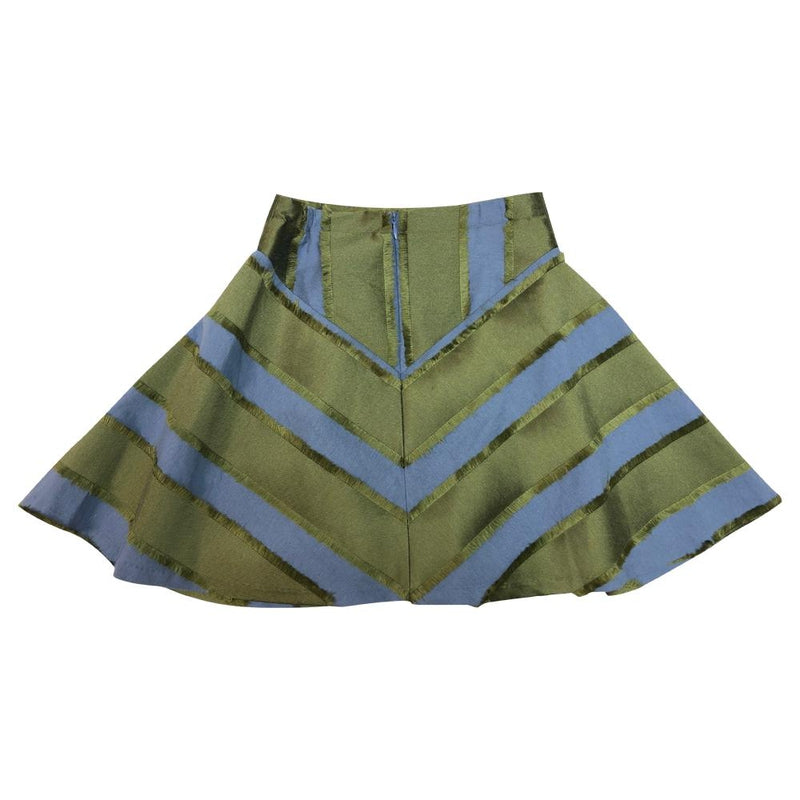 Olive And Powder Blue Stripped Skirt
