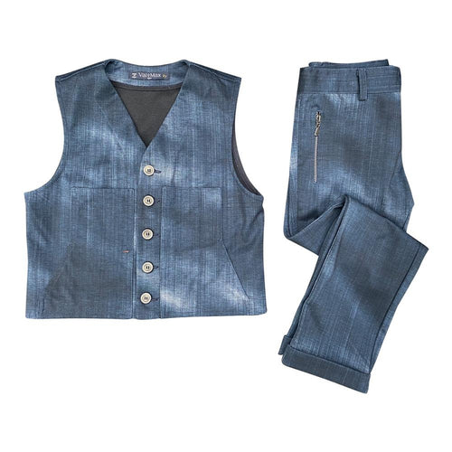 Stretchy Denim Wash Pant & Vest Suit