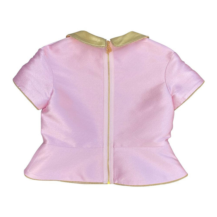 Pink Silk Blend Top With Jeweled Neckline