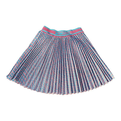 Pink And Blue Pleated Skirt