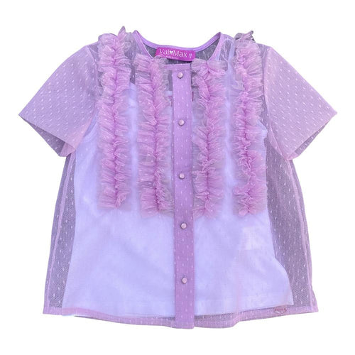 Lavender Ruffle Sheer Top With White Camisol