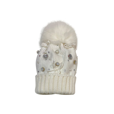 White Wool Jeweled Cap With Fox Pom Pom