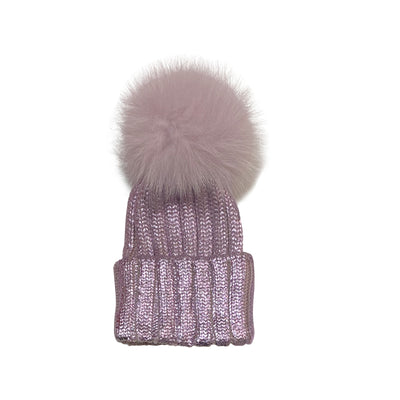 Purple Wool Cap With Fox Pom Pom