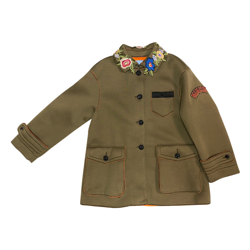 Army Patched Trench Jacket