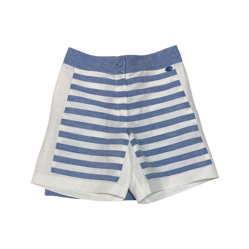 Striped Short With Solid Light Blue Back