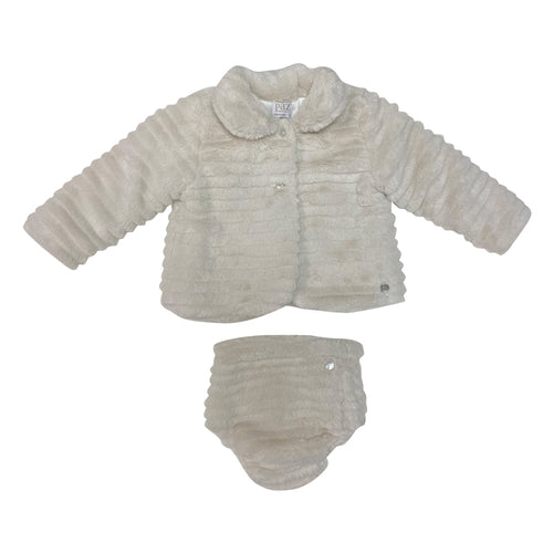 2 Pc Sand Fur Coat & Bloomers