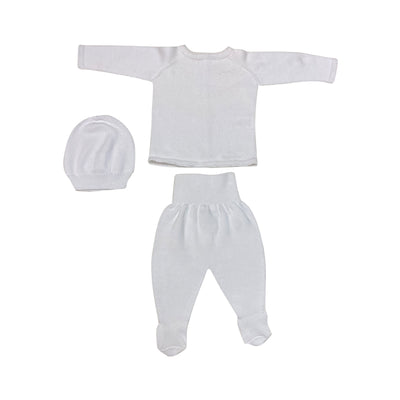 White 3pc Knitted Sweater, Pants and Hat Set