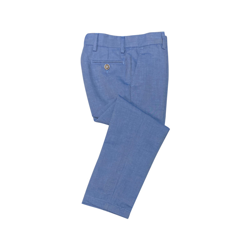 Light Blue Trousers With Deep Cut Pockets