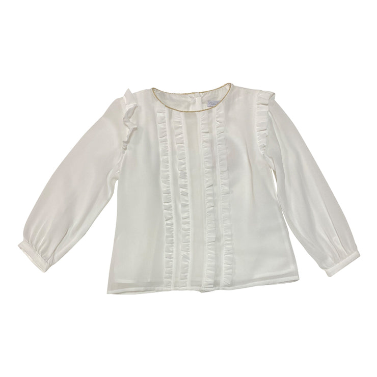 Ecru Long Sleeve Blouse With Gold Trimmed Collar