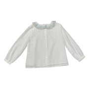 Ecru Woven Girl Blouse With Blue Laced Collar