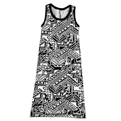 Tribal Dactyl Maxi Dress with Neon Spikes