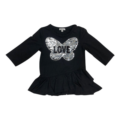 Asymmetric Ruffle Black Top with Sequin Love