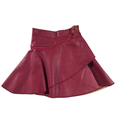 Iayla Fuchsia Vegan Leather Skirt